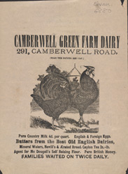 Advert for the Camberwell Green Farm Dairy
